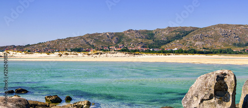 Panoramic view of the beach in Carnota, Galicia, Spain. - 226240817