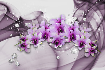 3D illustration, Orchids flowers and rhinestones on background veil