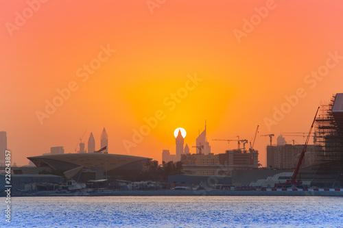 sunset in Dubai city view, United Arab Emirates