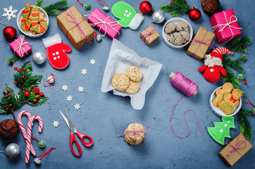 Christmas background with gifts, cookies, Christmas decoration and christmas balls