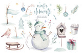 Watercolor Merry Christmas illustration with snowman, holiday cute animals deer, rabbit. Christmas celebration cards. Winter new year design. - 226248628