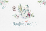 Watercolor Merry Christmas illustration with snowman, holiday cute animals deer, rabbit. Christmas celebration cards. Winter new year design. - 226248847