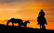 Silhouette of a cowboy and horse at sunset