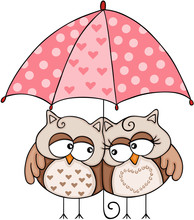 Owls Couple Under Umbrella Sticker