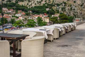 Empty restaurant in the old town of Kotor