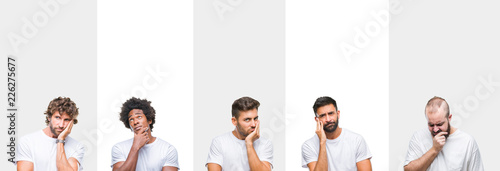 Leinwandbild Motiv Collage of young caucasian, hispanic, afro men wearing white t-shirt over white isolated background thinking looking tired and bored with depression problems with crossed arms.