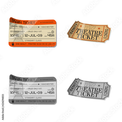 Fototapeta Vector illustration of ticket and admission symbol. Collection of ticket and event stock symbol for web.
