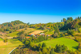 Remote village in Karlovac county, Croatian countryside landscape, panoramic view