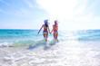 Leinwandbild Motiv Women run on beach