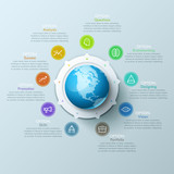 Beautiful infographic design layout with sphere in center, 9 arrows pointing at line symbols and text boxes. Nine qualities of international design company concept. Vector illustration for website. - 226309447