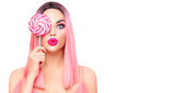 Beauty sexy model woman with trendy pink hairstyle and beautiful makeup holding lollipop candy isolated on white background - 226310432