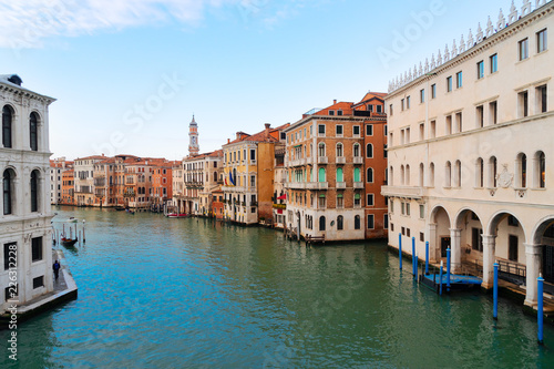 Grand Canal with facades of historical houses ans palaces, Venice Italy