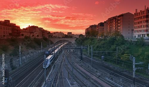 Train and railways  in Paris suburb - 226314093