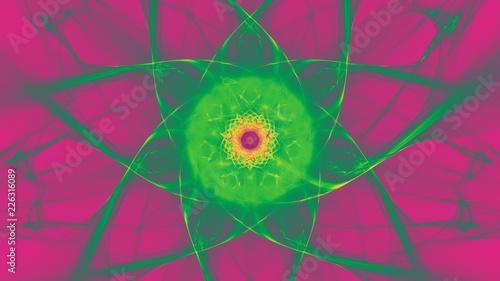 canvas print picture Sternfoermiger Hintergrund - Leuchtendes Gruen auf Violett