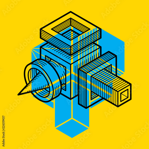 3D engineering vector, abstract shape made using cubes and geometric forms. - 226319437