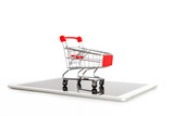 Empty shopping cart on digital tablet, isolated on white background. Online shopping and internet direct sales concept - 226325288