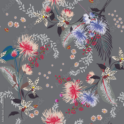 Trendy  Floral pattern in the many kind of flowers. Tropical botanical  Seamless vector texture. Elegant template for fashion prints. - 226338276