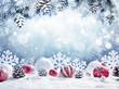 Leinwandbild Motiv Christmas Card - Baubles On Snow With Snowy Fir Branches