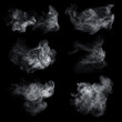 Fog or smoke set isolated on black background. White cloudiness, mist or smog background.