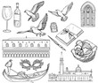 Vector Set of Venice sketch. Black and white.