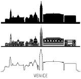 Venice silhouette skyline set. Black and white