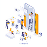 Flat color Modern Isometric Illustration design - Ui and Ux Design - 226349207