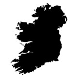 Black map country of Ireland