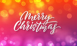 Merry Christmas lettering and Xmas holiday background. Vector Christmas lights sparkles with bokeh light flares - 226349408