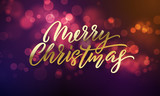 Merry Christmas lettering and Xmas holiday sparkling flares background. Vector Christmas lights sparkles with light blure - 226349465