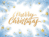 Gold Christmas card lettering on white background with snowed blue Christmas trees branches - 226349827