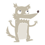 flat color illustration cartoon wolf
