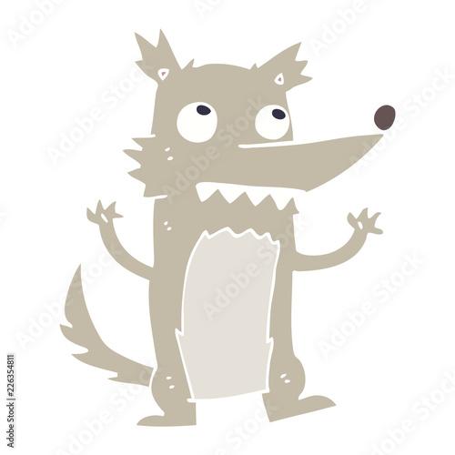 Fototapeta flat color illustration cartoon wolf