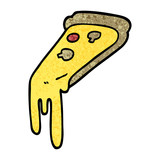 grunge textured illustration cartoon pizza slice - 226357440