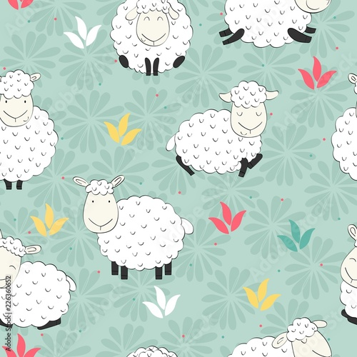 Cute vector seamless pattern with funny sheeps. Background for fabric, paper, wallpaper, wrapping and other. - 226360652