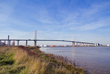 M25 motorway's iconic Queen Elizabeth II cable-stayed Bridge or Dartford Crossing, which spans the river Thames in East London, England