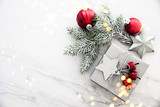 Christmas and New Year holiday background. Xmas greeting card. Christmas gifts on white marble background top view. Flat lay - 226371626