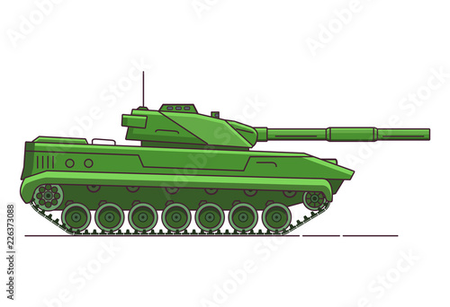 Army tank. Armored vehicle. Military artillery vehicle. Flat line art vector.Cartoon war green camouflage transport.Gun in a tower. © dukesn
