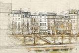 Ile de la cite from the Seine river