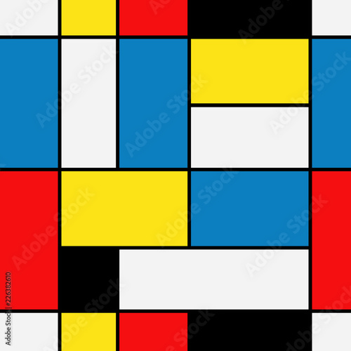 Seamless abstract mosaic pattern. Piet Mondrian emulation . © Elnur