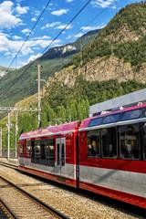 Train Waiting at Swiss Railway Station