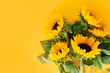 Leinwanddruck Bild - Sunflower fresh flowers on yellow background with copy space