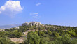 Acropolis landscape view as seen from Thissio Athens Greece