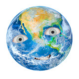 The Earth as a angry Gaia. Globe isolated on white background. Climate change metaphor. - 226388645