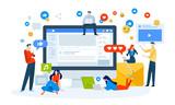 Vector illustration concept of social media. Creative flat design for web banner, marketing material, business presentation, online advertising. - 226392061