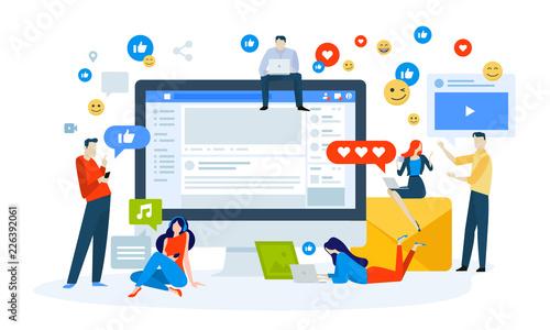 vector illustration concept of social media creative flat design