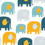 Seamless pattern with funny elephants. Kids fashion print. Vector hand drawn illustration. - 226394096