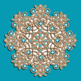 Vintage round jewellery pattern on turquoise background