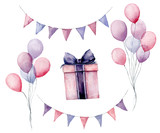 Watercolor birthday party set. Hand painted gift box with ribbon, flag garlands, air balloons isolated on white background. Pastel decor collection. Holiday illustrations. - 226403615