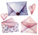 Watercolor envelope set. Hand painted pink, violet and polka dot envelopes isolated on white background. Vintage mail icon. Design elements for print, background. - 226404628