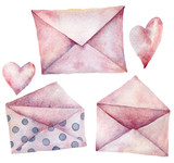 Watercolor envelopes set. Hand painted pink with polka dot envelopes isolated on white background. Vintage mail icon. Design elements for print, background. - 226404832